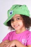 шлем девушки зеленый Стоковое Изображение