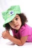 шлем девушки зеленый Стоковая Фотография RF