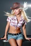 шлем девушки ковбоя сексуальный Стоковые Изображения