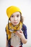шлем девушки немногая старые придурковатые 10 лет Стоковая Фотография RF