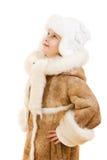 шлем девушки пальто смотря овчину вверх Стоковое Изображение RF
