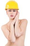 шлем девушки трудный Стоковая Фотография