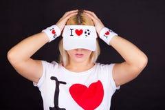 шлем девушки футбола вентилятора смешной Стоковое Изображение RF