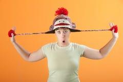 шлем играет женщину Стоковое фото RF