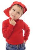 шлем мальчика немногая красный усмехаться Стоковое фото RF