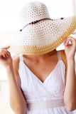 Шлем потехи женщины стоковая фотография rf