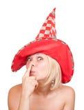 шлем стороны смешной делая красную белую женщину Стоковые Фотографии RF
