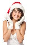 шлем удивленный santa девушки Стоковые Изображения RF