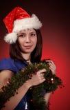 шлем santa девушки рождества стоковое изображение rf