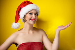 шлем santa девушки рождества Стоковые Изображения RF