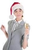 шлем santa девушки шампанского дела Стоковое фото RF