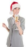 шлем santa девушки шампанского дела Стоковые Изображения