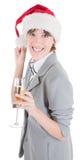 шлем santa девушки шампанского дела Стоковая Фотография RF