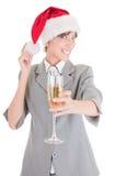 шлем santa девушки шампанского дела Стоковое Изображение RF