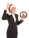 шлем santa девушки шампанского дела Стоковая Фотография