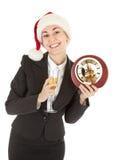 шлем santa девушки шампанского дела Стоковые Фотографии RF