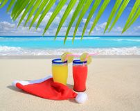 шлем santa коктеилов рождества пляжа Стоковое Фото