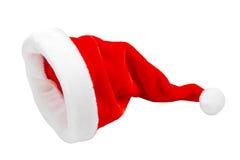 Шлем Santa Claus красный на белизне Стоковые Фотографии RF