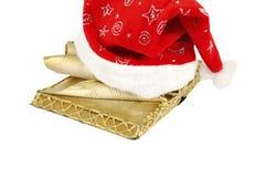 шлем santa claus рождества книги Стоковые Изображения RF