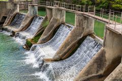Шлюз на реке Llobregat в Испании Стоковое фото RF