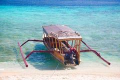 Шлюпка Бали, пляж острова Gili, Индонесия Стоковое Изображение