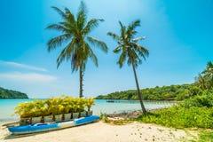 Шлюпка каяка на красивом тропическом пляже и море с кокосом Стоковое Фото