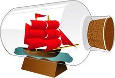 Шлюпка корабля в бутылке Стоковые Фото