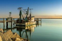Шлюпка креветки залива Стоковые Фото