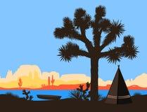 Шлюпка на береге реки около американских индийских вигвама и дерева Иешуа также вектор иллюстрации притяжки corel иллюстрация штока