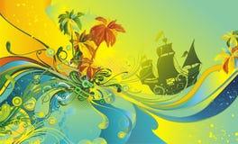 шлюпка предпосылки тропическая иллюстрация вектора