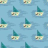Шлюпка с символами на волне моря Иллюстрация Баухауза бесплатная иллюстрация