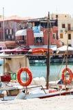 Шлюпка с lifebuoys в Rethymno Стоковая Фотография