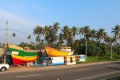 Шлюпки в Hikkaduwa, Шри-Ланке Стоковая Фотография
