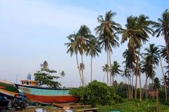 Шлюпки в Hikkaduwa, Шри-Ланке Стоковое фото RF