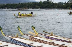Шлюпки головы дракона строки спорт родные припаркованные на озере подпирают во время конкуренции чашки дракона Стоковые Фотографии RF