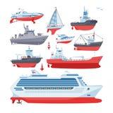 Шлюпки или круиз вектора кораблей путешествуя в комплекте морского пехотинца иллюстрации транспорта океана или моря и грузить мор иллюстрация вектора