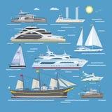 Шлюпки или круиз вектора кораблей путешествуя в комплекте морского пехотинца иллюстрации транспорта океана или моря и грузить мор бесплатная иллюстрация