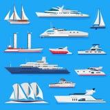 Шлюпки или круиз вектора кораблей путешествуя в комплекте морского пехотинца иллюстрации транспорта океана или моря и грузить мор Стоковая Фотография