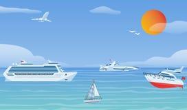 Шлюпки моря и маленькие удя корабли Иллюстрация предпосылки вектора парусников плоская Яхта и корабль водного транспорта иллюстрация штока