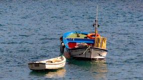 Шлюпки на море красивейшие цветы стоковое изображение
