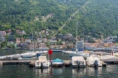 Шлюпки, озеро Como, город Como, Италии Стоковое Изображение RF