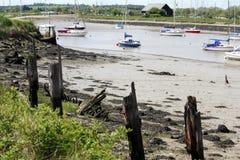 шлюпки причалили реку спокойное Стоковая Фотография RF