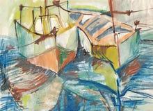 шлюпки рисуя порт Стоковые Фото