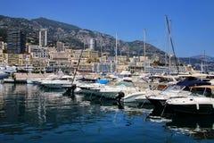 Шлюпки состыковали на порте Геркулесе в палате Condamine Ла Монако Стоковое фото RF