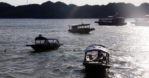 шлюпки traditonal въетнамские и плавая деревня около ба isl кота Стоковая Фотография