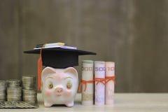 Шляпа градации на piggy и банкнота на деревянной предпосылке, сбережениях стоковые фотографии rf