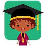 Шляпа и обмундирование градации счастливого студента логотипа нося иллюстрация штока
