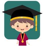 Шляпа и обмундирование градации счастливого студента логотипа нося иллюстрация вектора