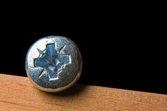 Шляпа само-выстукивая винта на деревянном поверхностном макросе и космоса для текста Стоковые Фото