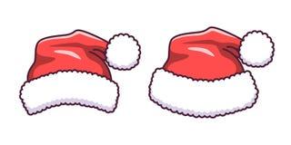 Шляпа Санта Клауса в плоском стиле Шарж вектора стоковая фотография